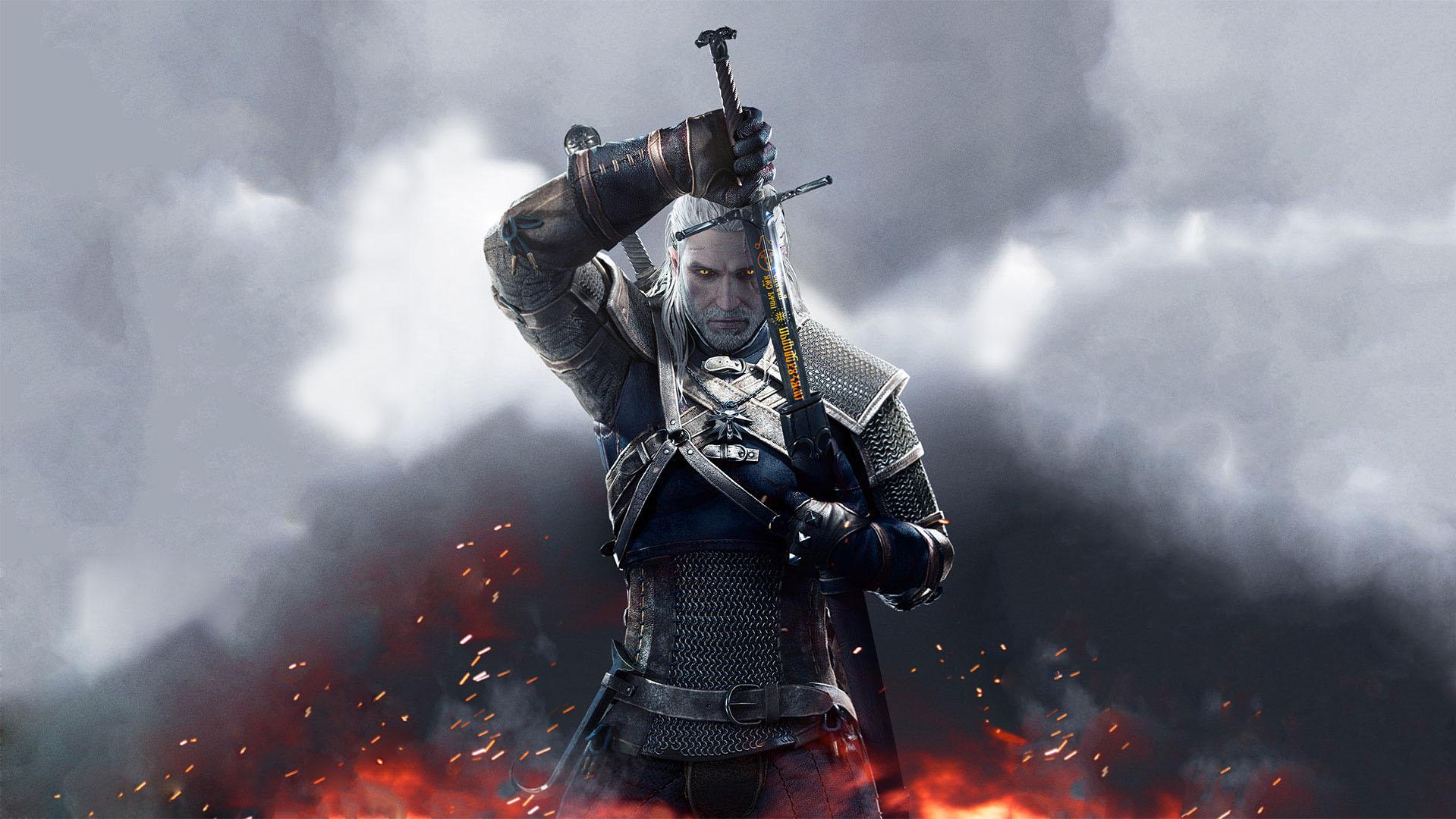 Geralt e sua espada witcher